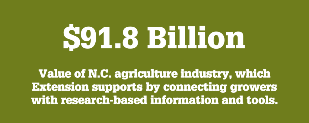 NC State Extension supports the $91.8 billion North Carolina agriculture industry by connecting growers with the research-based information and technology they need