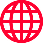 Red icon illustrating the globe to symbolize an internet network