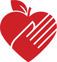 An icon graphic depicting an apple in the shape of a heart with a hand imprint etched into it, representative of the food and nutrition efforts of NC State Extension.
